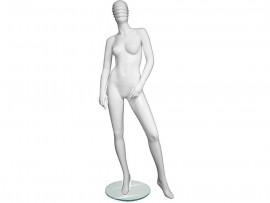 Manequim feminino Fibra importado Cabeça Riscada reta base de vidro