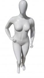 Manequim feminino Julia cara de ovo pose mão na cintura direita branca brilho (BASE OPCIONAl