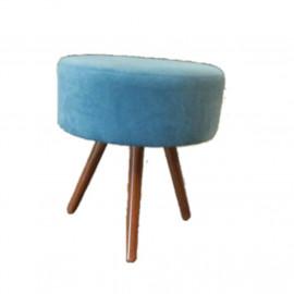 Puf retro 3 pe madeira suede azul turquesa