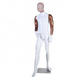 Manequim Masculino fibra mão reta passo cabeça de arame branco braço dourado (SEM BASE)