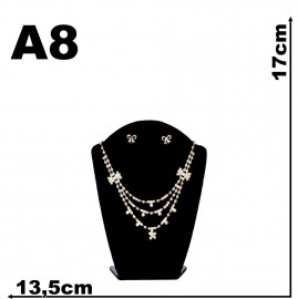 Expositor veludo bijuteria. Busto modelo pequeno 13 x 17,00 cm
