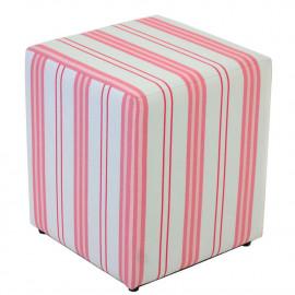 Puf quadrado rosa com listras