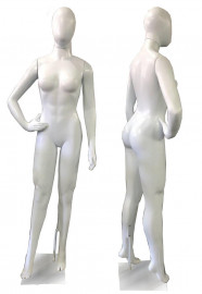 Manequim feminino carioca, branco brilho, cara de ovo, mão na cintura direita (COM BASE)