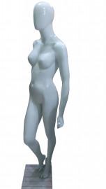 Manequim feminino Expor cara de ovo branca brilho mão na cintura direita(BASE OPCIONAL)