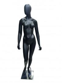 Manequim feminino Luana,  cara de ovo na cor preto fosco  mão reta (BASE OPCIONAL)