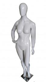 Manequim Feminino bonita cara ovo mão cintura direita branco brilho (BASE OPCIONAL)