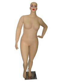 Manequim feminino Julia, cara de  ovo mão na cintura esquerda na cor pele clara fosca (BASE OPCIONAL)