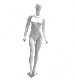 Manequim feminino Fitness, cara ovo, mão reta, branco brilho (BASE OPCIONAL)