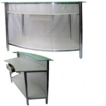 Balcão caixa curvo cromado com policabornato (obs: 1,5o mt  a cor a escolha do cliente)