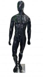 Manequim masculino Bombado, cara de ovo mão reta na cor preta brilho ( BASE OPCIONAL)