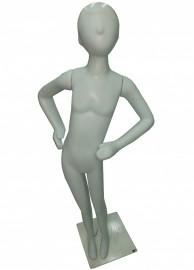 Manequim unisex plastico alegria pose mão cintura branco (COM BASE)
