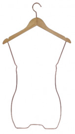 Cabide de madeira silhueta adulto marfim modelo redondo