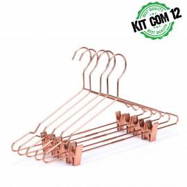 Kit 12 Cabide tintureiro rose gold metal fio de cobre com presilhas