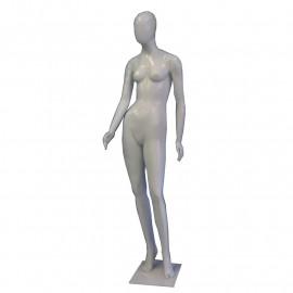 Manequim feminino de plástico magra, branco ( COM BASE )