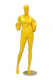 Manequim Feminino fibra Pamela color mão stop amarelo (SEM BASE)