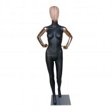 Manequim Feminino fibra 2 mão na cintura cabeça de arame (SEM BASE)