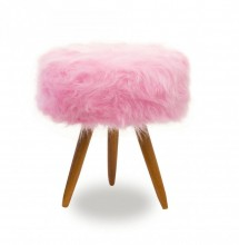 Puf retro 3 pés madeira em pelo rosa pink
