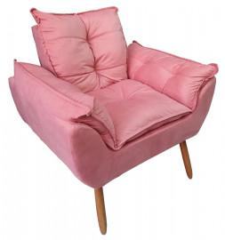 Poltrona retro 4 pe madeira suede Pink