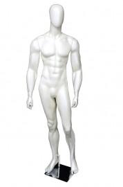 Manequim masculino bombado cara de ovo branco brilho (BASE OPCINAL)
